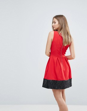 photo Sequin Hem Skater Dress by Closet London, color Red - Image 2