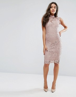 photo High Neck Lace Midi Dress by Paper Dolls, color Taupe - Image 4