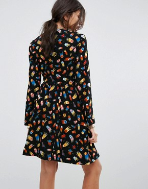photo Allover Rocketship Print Dress by Love Moschino, color Black - Image 2