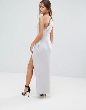 photo One Shoulder Maxi Dress with Exposed Zip by ASOS PETITE, color Grey - Image 2