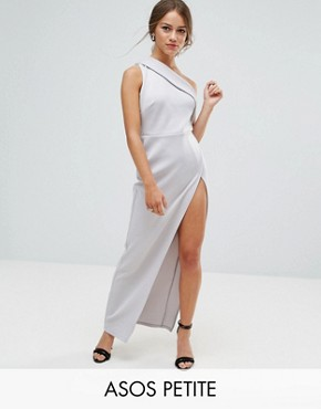photo One Shoulder Maxi Dress with Exposed Zip by ASOS PETITE, color Grey - Image 1