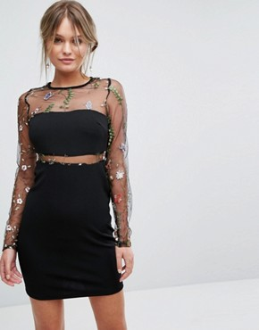 photo Embroidered Insert Mesh Dress by New Look, color Black - Image 1