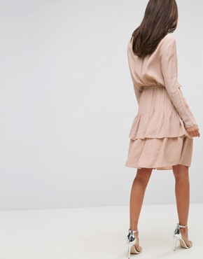 photo Long Sleeve Ruffle Tiered Dress by Y.A.S Tall, color Pink - Image 2