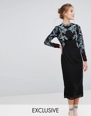 photo Long Sleeve Embellished Backless Dress by Hope & Ivy, color Multi Black - Image 1