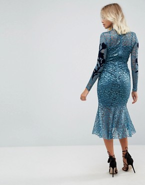 photo Long Sleeve Lace Dress with Velvet Applique Detail by Hope & Ivy, color Teal - Image 2