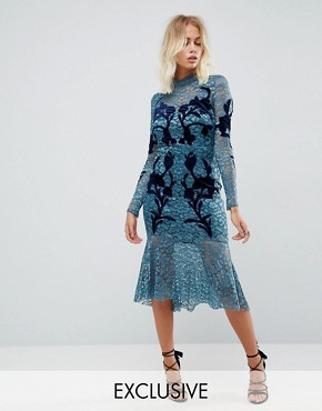 photo Long Sleeve Lace Dress with Velvet Applique Detail by Hope & Ivy, color Teal - Image 1