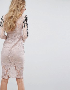 photo Long Sleeve Embellished Backless Dress by Hope & Ivy, color Nude - Image 2