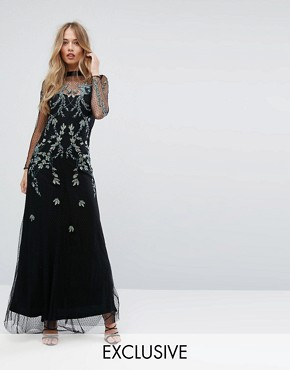 photo Mesh Maxi Dress with Embellishment by Hope & Ivy, color Black - Image 1
