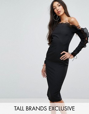 photo Fluted Frill Bardot Bodycon Midi Dress by Missguided Tall, color Black - Image 1