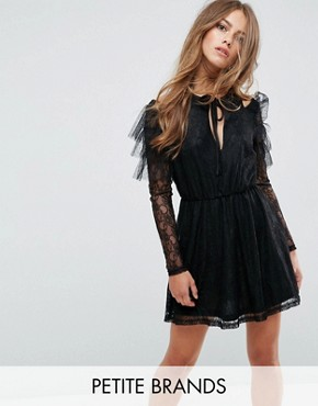 photo Lace and Mesh Layered Cold Shoulder Skater Dress by Missguided Petite, color Black - Image 1