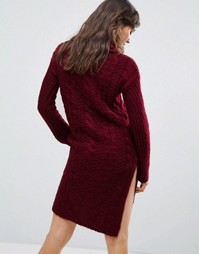photo Cable Knit Roll Neck Jumper Dress by Oeuvre, color Jujube Red - Image 2