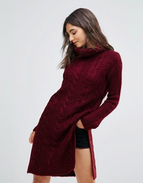 photo Cable Knit Roll Neck Jumper Dress by Oeuvre, color Jujube Red - Image 1