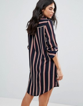 photo Stripe Shirt Dress by Oeuvre, color Navy Stripe - Image 2