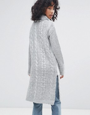 photo Cable Knit Roll Neck Jumper Dress by Oeuvre, color Light Grey - Image 2
