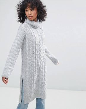 photo Cable Knit Roll Neck Jumper Dress by Oeuvre, color Light Grey - Image 1