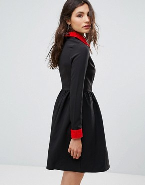 photo Peter Pan Collar Dress by Oeuvre, color Black - Image 2