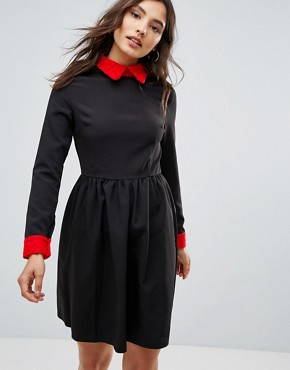 photo Peter Pan Collar Dress by Oeuvre, color Black - Image 1