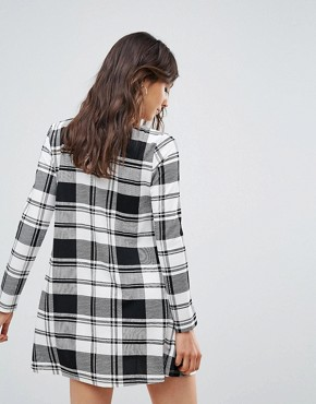 photo Check Swing Dress by Oeuvre, color Black White Check - Image 2
