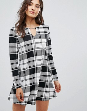 photo Check Swing Dress by Oeuvre, color Black White Check - Image 1