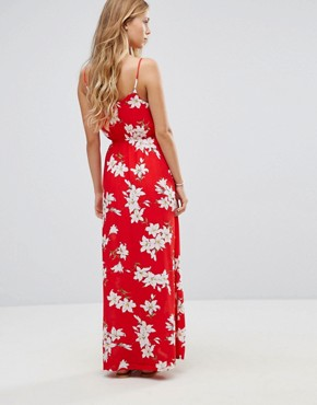 photo Floral Maxi Dress with Shorts by Parisian, color Red - Image 2