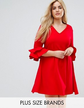 photo V-Neck Dress with Fluted Sleeve Detail by Praslin, color Red - Image 1
