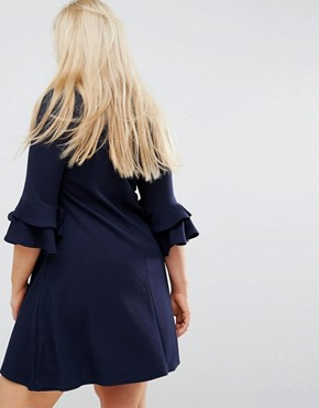 photo V-Neck Dress with Fluted Sleeve Detail by Praslin, color Navy - Image 2