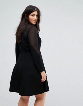 photo Long Sleeve Skater Dress with Sweetheart Neckline by Praslin, color Black - Image 2