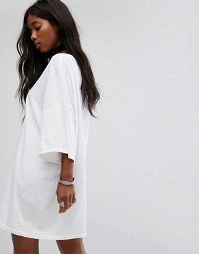 photo Vintage Oversize T-Shirt Dress with Choker Tie by Milk It, color White - Image 2