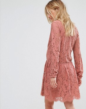photo Lace Skater Dress by Mamalicious, color Old Rose - Image 2