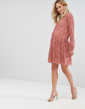 photo Lace Skater Dress by Mamalicious, color Old Rose - Image 4
