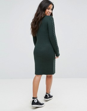 photo Cable Knit Jumper Dress by Mamalicious, color Green Gables - Image 2