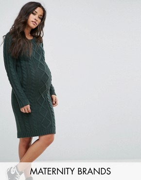 photo Cable Knit Jumper Dress by Mamalicious, color Green Gables - Image 1