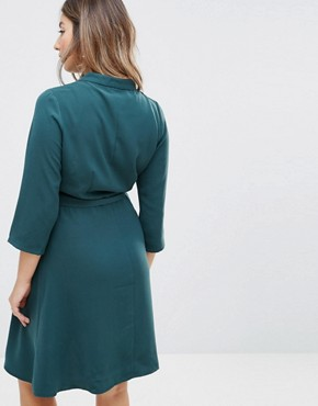 photo Wrap Dress with Choker Detail by Mamalicious Nursing, color Green Gables - Image 2