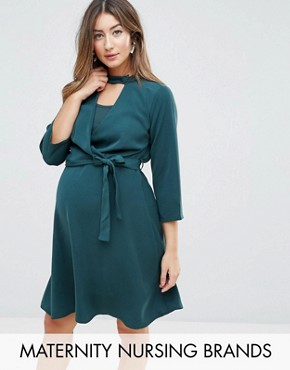 photo Wrap Dress with Choker Detail by Mamalicious Nursing, color Green Gables - Image 1