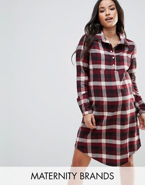 photo Checked Shirt Dress with Waist Belt by Mamalicious, color Multi - Image 1
