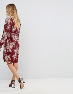 photo Floral Print Shift Dress by Mamalicious, color Burgundy - Image 2