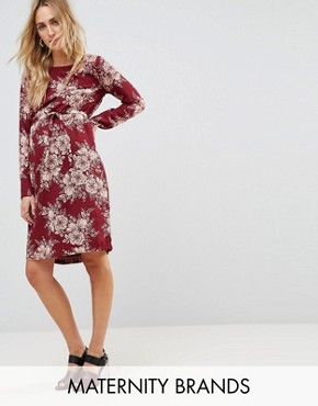 photo Floral Print Shift Dress by Mamalicious, color Burgundy - Image 1