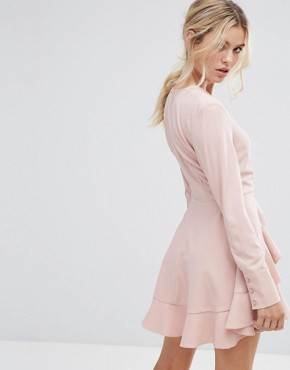 photo Ultralight Long Sleeve Ruffle Dress by C/meo Collective, color Dusty Pink - Image 2