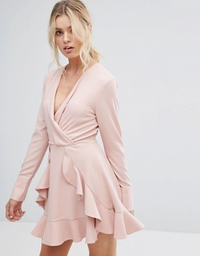 photo Ultralight Long Sleeve Ruffle Dress by C/meo Collective, color Dusty Pink - Image 1