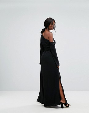 photo Beyond Me One Shoulder Maxi Dress by C/meo Collective, color Black - Image 2