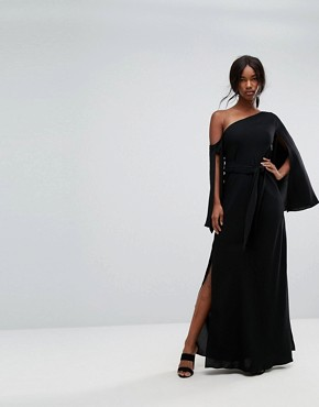 photo Beyond Me One Shoulder Maxi Dress by C/meo Collective, color Black - Image 1