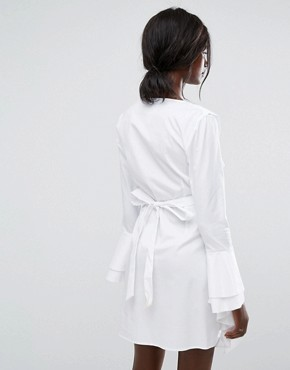 photo Still Standing Ruffle Wrap Dress by C/meo Collective, color White - Image 2