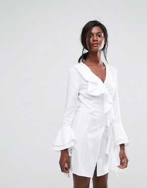 photo Still Standing Ruffle Wrap Dress by C/meo Collective, color White - Image 1