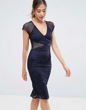 photo Navy V-Neck Mesh Lace Bodycon Midi Dress by AX Paris, color Navy - Image 1