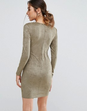 photo Khaki Suede Strappy Bodycon Dress by AX Paris, color Khaki - Image 2