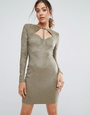 photo Khaki Suede Strappy Bodycon Dress by AX Paris, color Khaki - Image 1