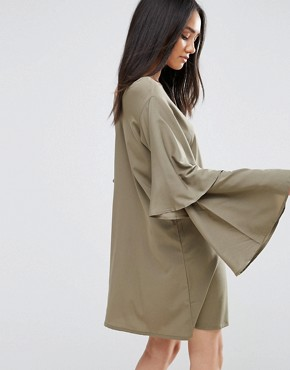 photo Khaki Wide Bell Sleeve Tunic Dress by AX Paris, color Khaki - Image 2