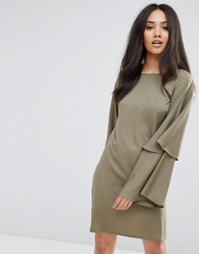 photo Khaki Wide Bell Sleeve Tunic Dress by AX Paris, color Khaki - Image 1