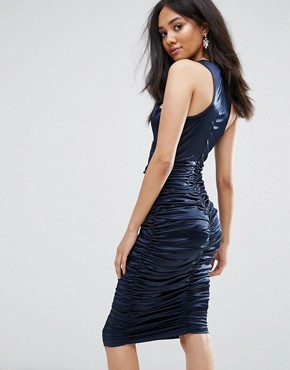 photo Navy Ruched Dress with a Cross Over Cut Out Front by AX Paris, color Navy - Image 2