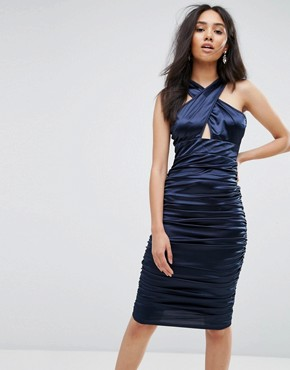 photo Navy Ruched Dress with a Cross Over Cut Out Front by AX Paris, color Navy - Image 1